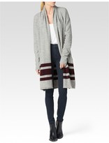 Paige Maison Cardigan - Heather Grey / Cabernet Stripe
