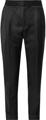 Officine Generale Black Drew Slim-Fit Pleated Wool And Mohair-Blend Twill Drawstring Tuxedo Trousers