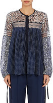Chloé Women's Mixed-Fabric Peasant Blouse-NAVY, WHITE