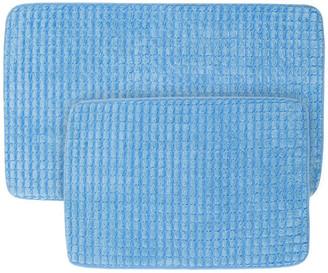Lavish Home 2-Piece Memory Foam Bath Mat Set, Woven Jacquard Fleece, Blue