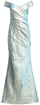 Rene Ruiz Collection Jacquard Metallic Off-The-Shoulder Mermaid Gown