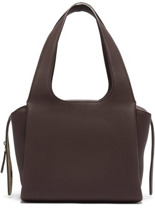 The Row Tr1 Medium Grained-leather Bag - Womens - Burgundy