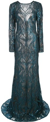 Tadashi Shoji sequinned lace gown