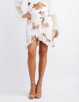 Charlotte Russe Floral Ruffle Wrap Skirt