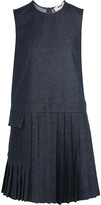 MSGM Pleated stretch-denim mini dress