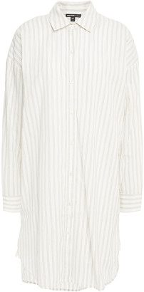 James Perse Striped Cotton-blend Poplin Mini Shirt Dress