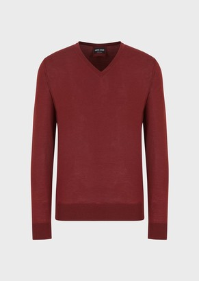 Giorgio Armani V-Neck Sweater In Virgin Wool