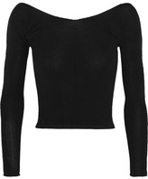 Ballet Beautiful - Cropped Off-the-shoulder Stretch-knit Sweater - Black