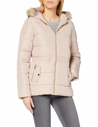 Dorothy Perkins Women's Blush Faux Fur Hood Padded Jacket 14