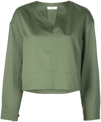 Tibi Split Neck Cropped Blouse