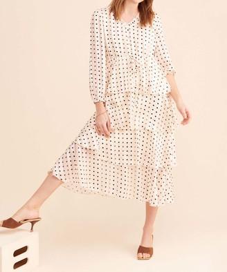 Current Air Women's Casual Dresses CREAM - Cream Polka Dot Ruffle-Tier Empire-Waist Dress - Women