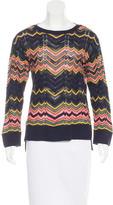 M Missoni Zigzag-Patterned Rib Knit Sweater