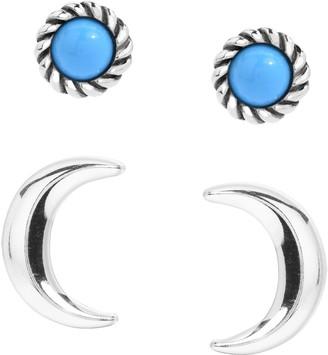 American West Sterling Moon & Gemstone Stud Earring Set