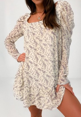 Missguided Cream Floral Square Neck Puff Sleeve Smock Dress