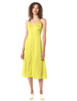 J.o.a. Women's Sleeveless Buttondown A-line Midi Dress