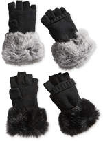 Surell Rabbit Fur and Knit Flip-Top Mittens