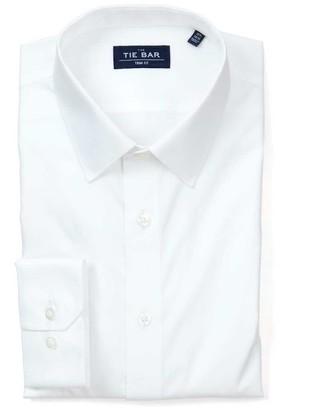 Tie Bar Pinpoint Solid - Point Collar White Non-Iron Dress Shirt