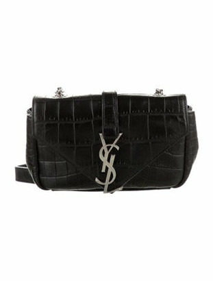 Saint Laurent Embossed Baby Monogram Classic Chain Bag Black