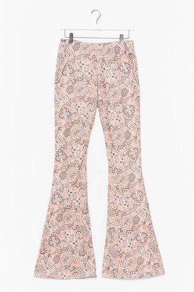 Nasty Gal Womens Paisley Close Attention High-Waisted Flare Trousers - Pink - 6