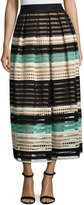 Lela Rose Striped Crochet A-Line Midi Skirt, Mint/Multi