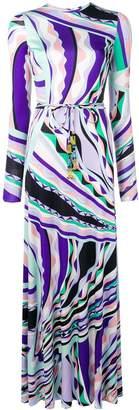 Emilio Pucci Burle Print Belted Silk Maxi Dress