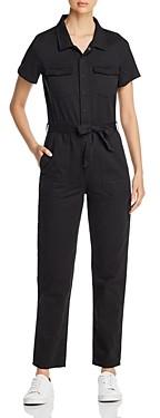 BILLY T Short-Sleeve Jean Jumpsuit in Noir