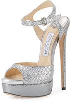 Jimmy Choo Jenna Glitter Platform Sandal, Silver