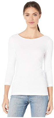 Lilla P 1X1 3/4 Sleeve Boat Neck Tee (Black) Women's Clothing