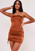 Missguided Rust Stretch Satin Ruched Bandeau Mini Dress