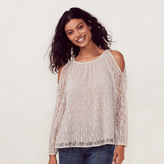 Lauren Conrad Women's Lace Cold-Shoulder Top