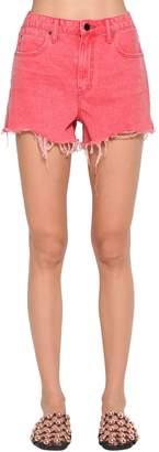 Alexander Wang Destroyed Cotton Denim Shorts