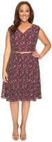 London Times Plus Size Cap Sleeve V-Neck Lace Full Skirt