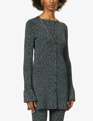 Theory Speckled ribbed stretch-knit cardigan