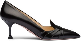 Prada Brushed Leather Pointy Toe Pumps