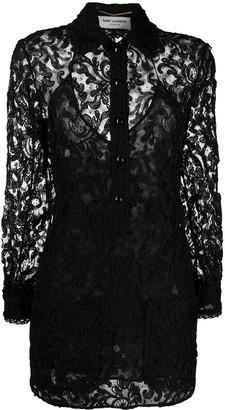 Saint Laurent Lace Shirt Dress