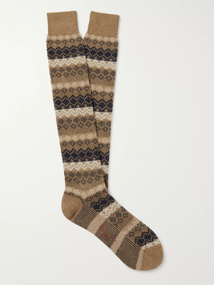 Loro Piana Cashmere-Blend Jacquard Socks - Men - Brown