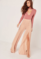 Missguided Wide Leg Satin Split Trousers Blush Pink