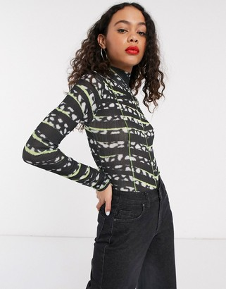 Topshop contrast print mesh top in black and lime
