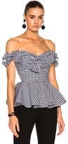 Caroline Constas Artemis Bustier Top in Black,Checkered & Plaid,White.