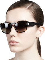 Givenchy Modified Rounded Rectangular Sunglasses, Havana Brown