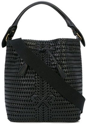 Anya Hindmarch woven bow bucket bag