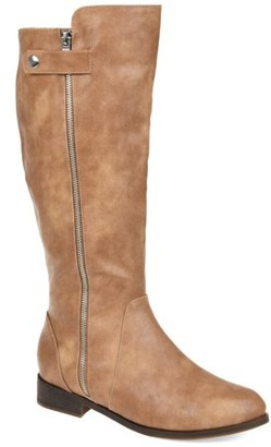 Brinley Co. Comfort by Womens Extra Wide Calf Side Zipper Riding Boot