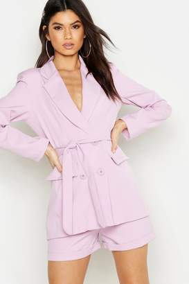 boohoo Woven Double Breasted Tie Belt Blazer