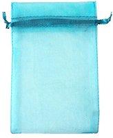 "AIEDE Aqua Blue 4x6"" 10x15cm Drawstring Organza Pouch Strong Wedding Favor Gift Candy Bag (Pack of 100pcs)"