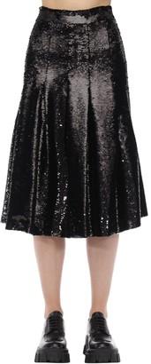 Simone Rocha Sequined Pleated Flared Midi Skirt