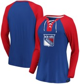 Women's Fanatics Branded Blue/Red New York Rangers Plus Size Break Out Play Lace-Up Long Sleeve V-Neck T-Shirt