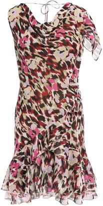 Roberto Cavalli Draped Ruffled Silk-georgette Mini Dress