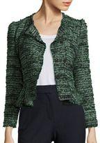 Rebecca Taylor Double-Breasted Tweed Peplum Jacket