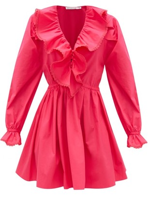 Self-Portrait Ruffled V-neck Cotton Mini Dress - Womens - Pink