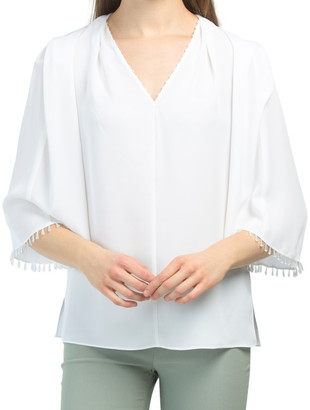 Silk V-neck Beaded Blouse With Short Flare Sleeve